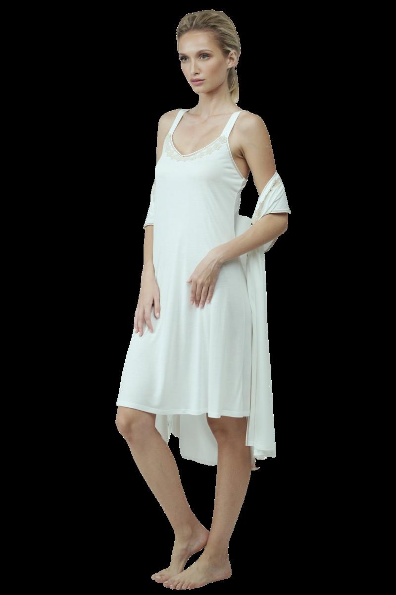 Set mini nightgown and robe cotton modal